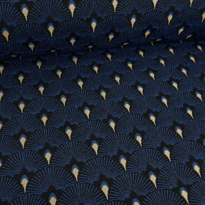 Tissu jacquard éventails or - bleu x 10 cm