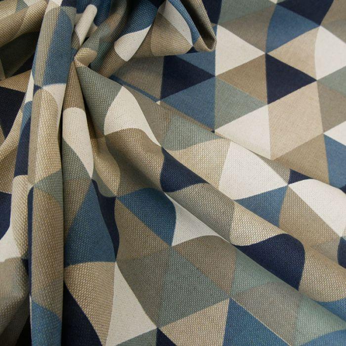 Tissu coton effet lin triangles - bleu x 10 cm