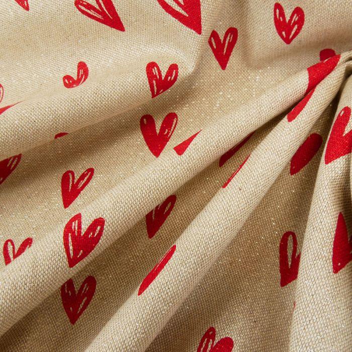 Tissu coton effet lin lurex coeurs - beige x 10 cm
