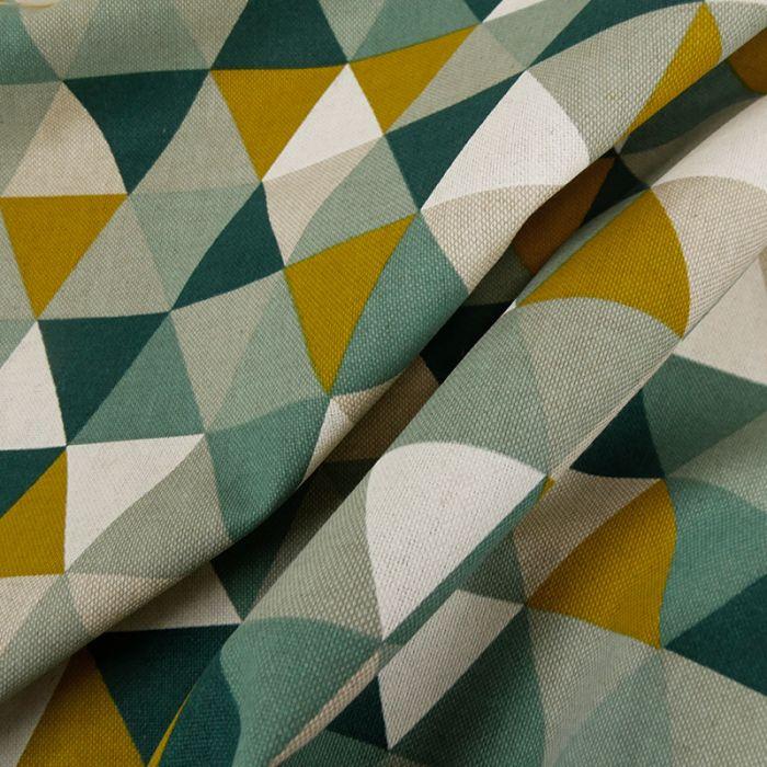 Tissu coton effet lin triangles - vert x 10 cm