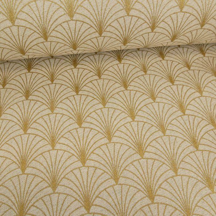 Tissu coton effet lin éventails or - beige x 10 cm