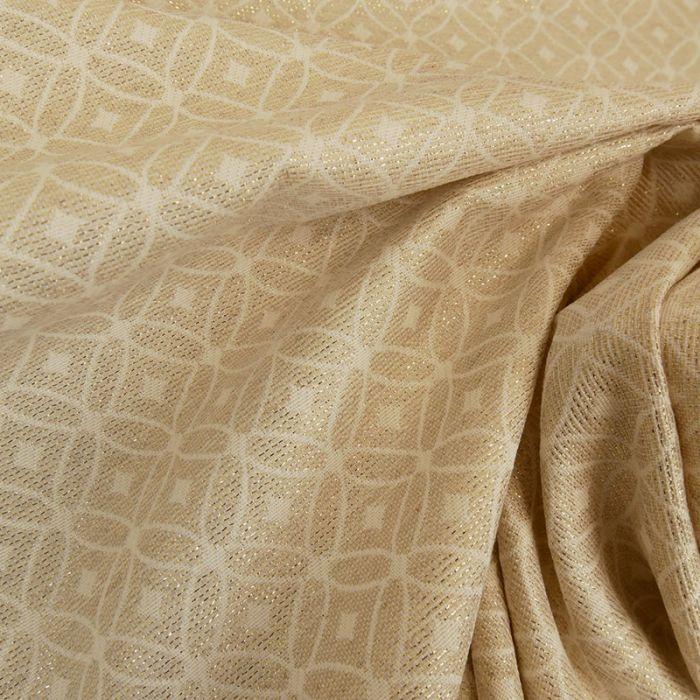 Tissu jacquard losanges lurex - beige x 10 cm