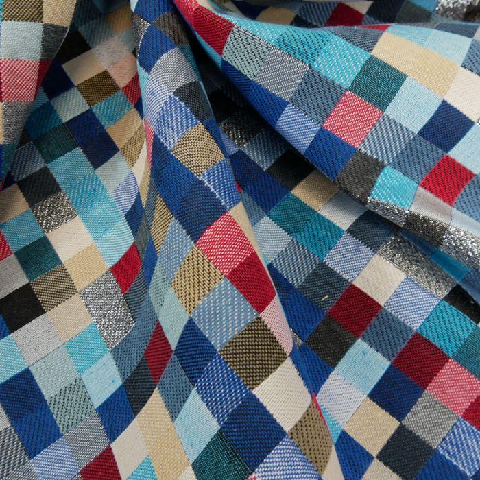 Tissu jacquard pixels lurex argent - bleu x 10 cm