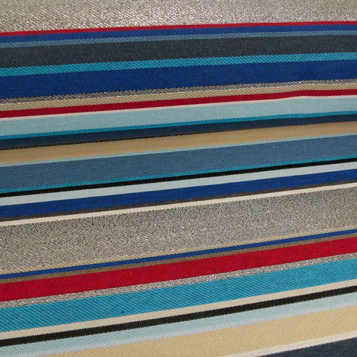 Tissu jacquard rayures lurex argent - bleu x 10 cm