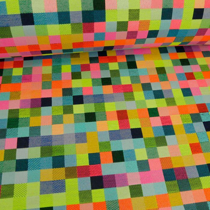 Tissu jacquard pixels - rose fluo x 10 cm