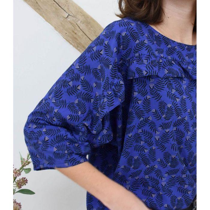 Tissu viscose Rameaux blue - Cousette x 10 cm