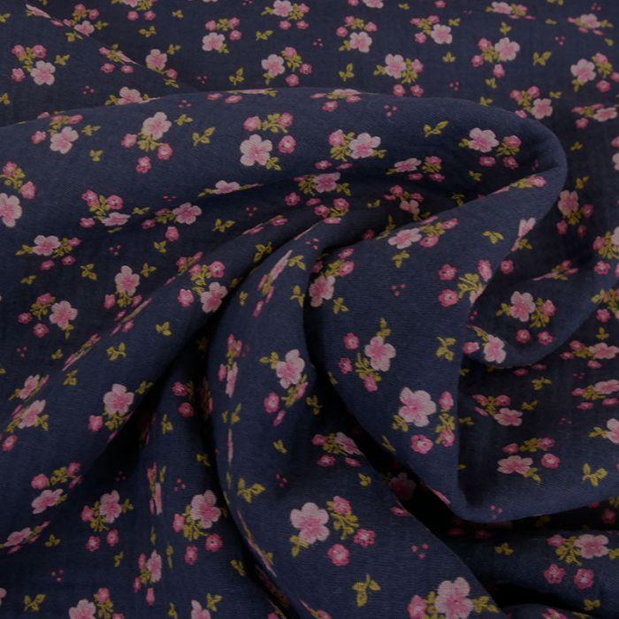 Tissu double gaze pensées roses - bleu marine x 10cm