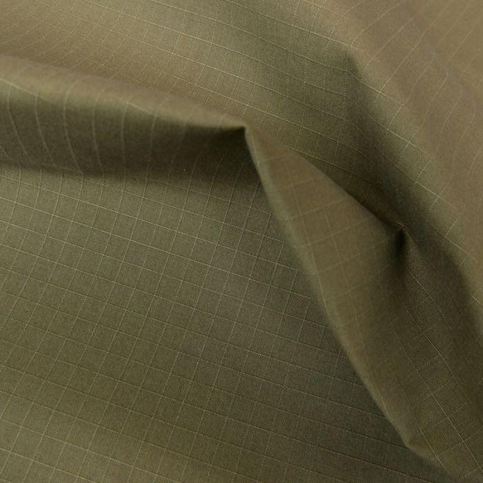 Tissu coton ciré waterproof carreaux - kaki x 10 cm