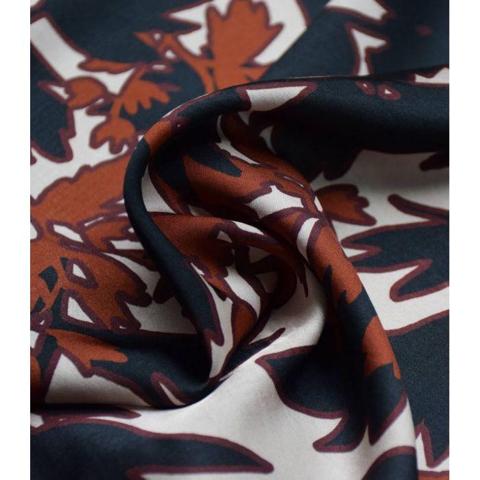 Tissu satin viscose Estampe sépia - Cousette x 10 cm
