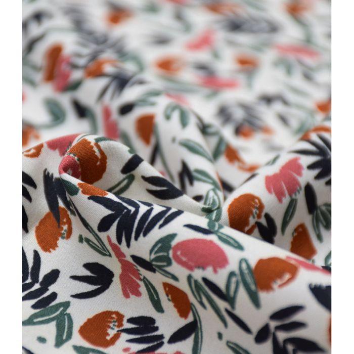 Tissu viscose Jungle de fleurs blush - Cousette x 10 cm