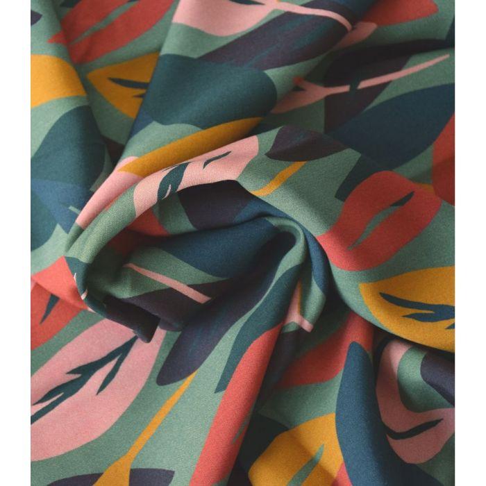 Tissu viscose Sous Bois lichen - Cousette x 10 cm