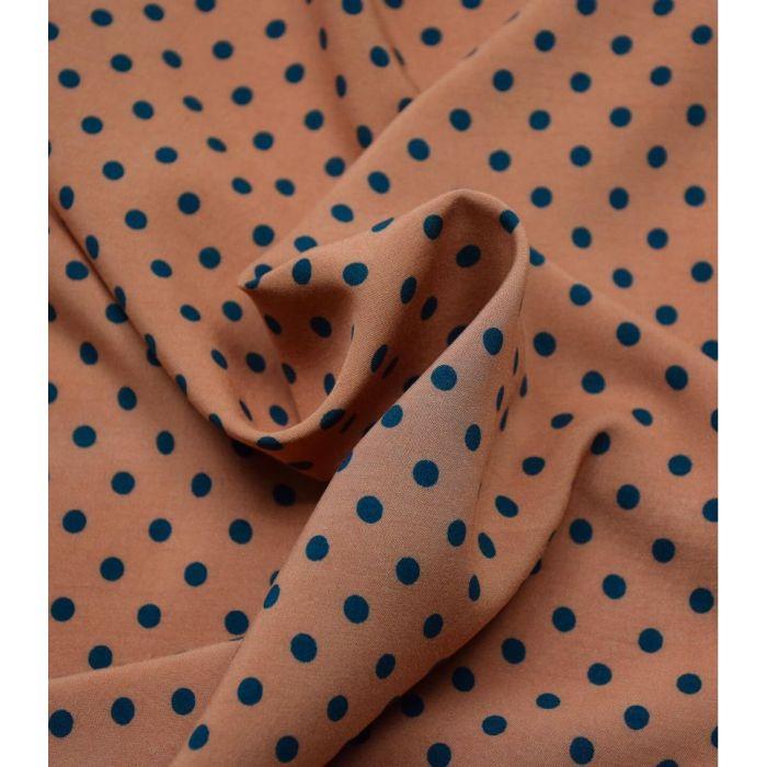 Tissu viscose Pois noisette - Cousette x 10 cm