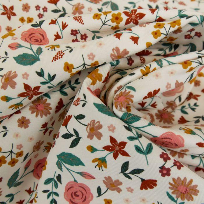 Tissu jersey bio petites fleurs - blanc x 10 cm