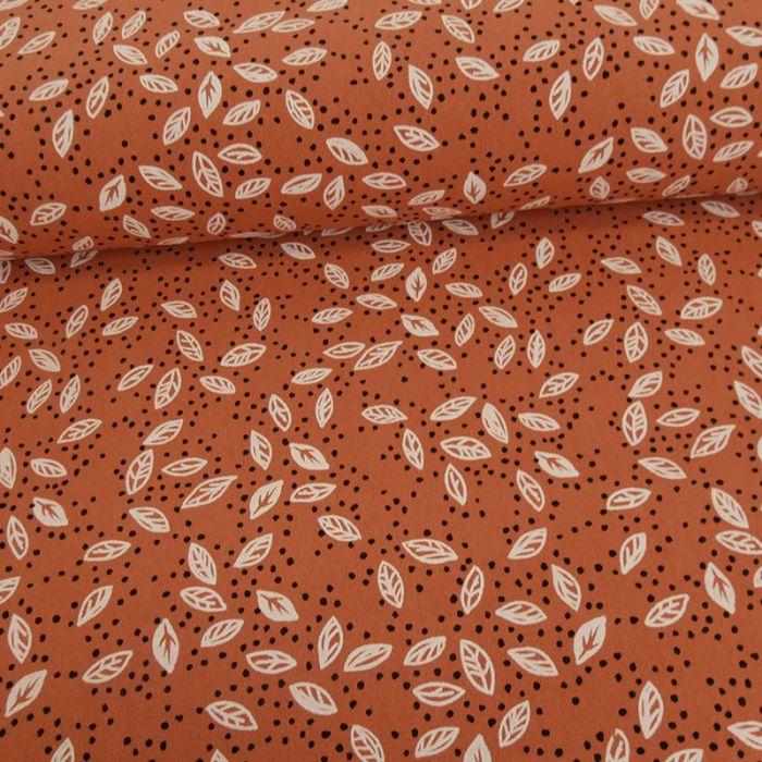 Tissu coton lavé feuilles et pois - rouille x 10 cm