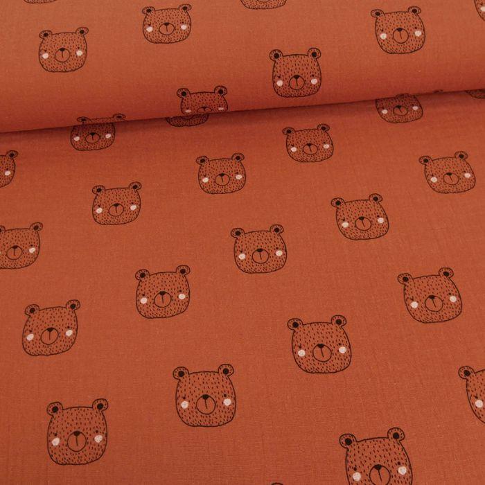 Tissu double gaze oursons - rouille x 10cm