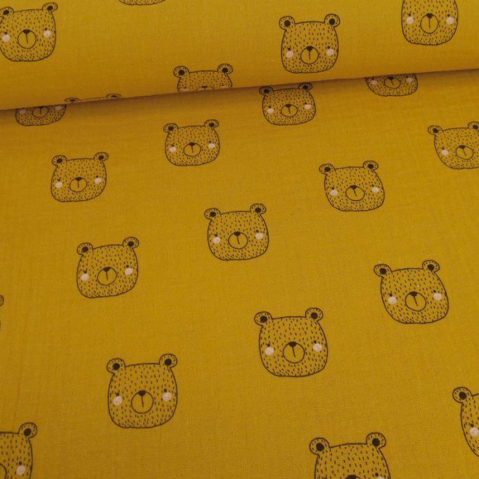 Tissu double gaze oursons - moutarde x 10cm