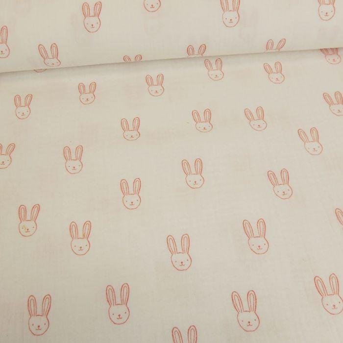 Tissu double gaze têtes de lapins - blanc x 10cm
