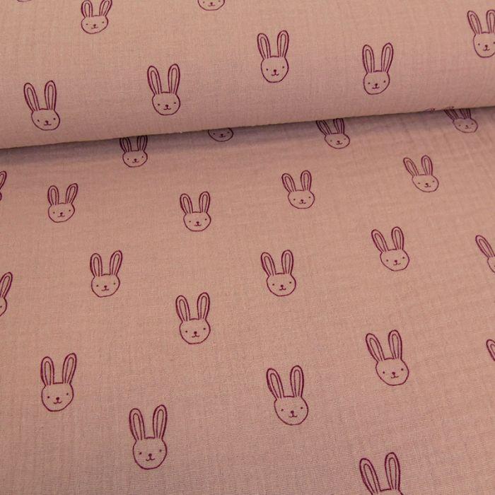 Tissu double gaze têtes de lapins - parme x 10cm