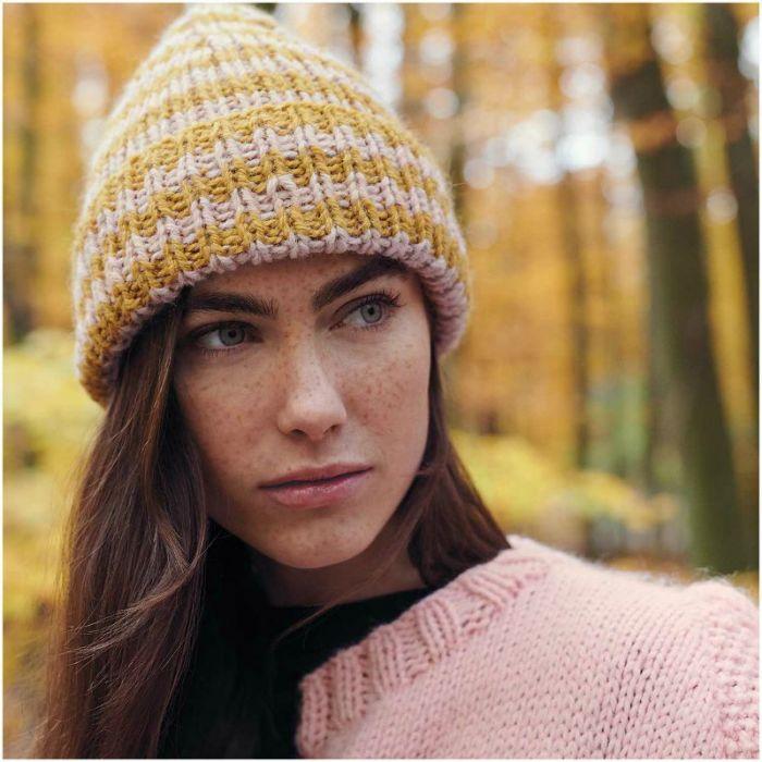 Kit tricot bonnet bicolore en alpaga - Rico design
