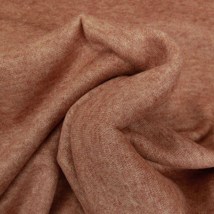 Tissu jersey maille chiné - saumon x 10 cm