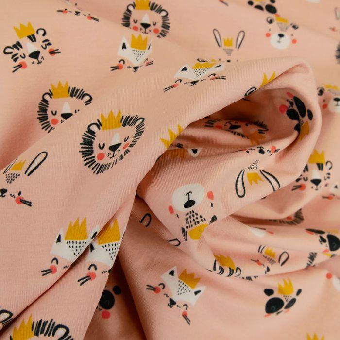 Tissu jersey fin animaux - rose x 10 cm