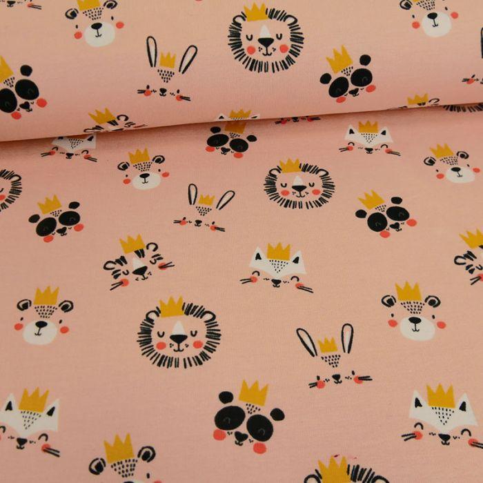 Tissu jersey fin animalerie royale - rose x 10 cm