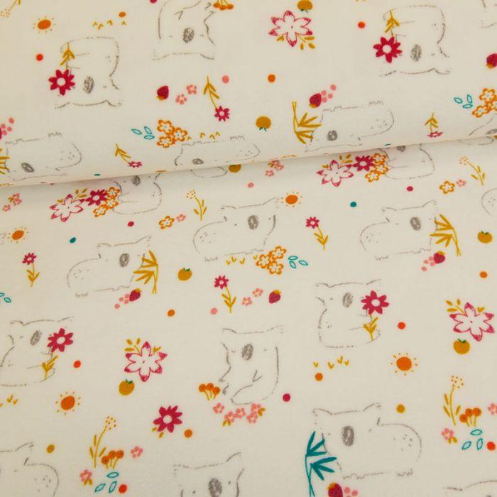 Tissu jersey pilou koala - blanc x 10 cm