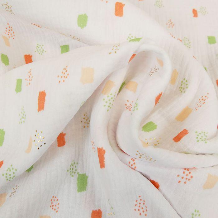 Tissu double gaze géométriques glitter - blanc x 10cm
