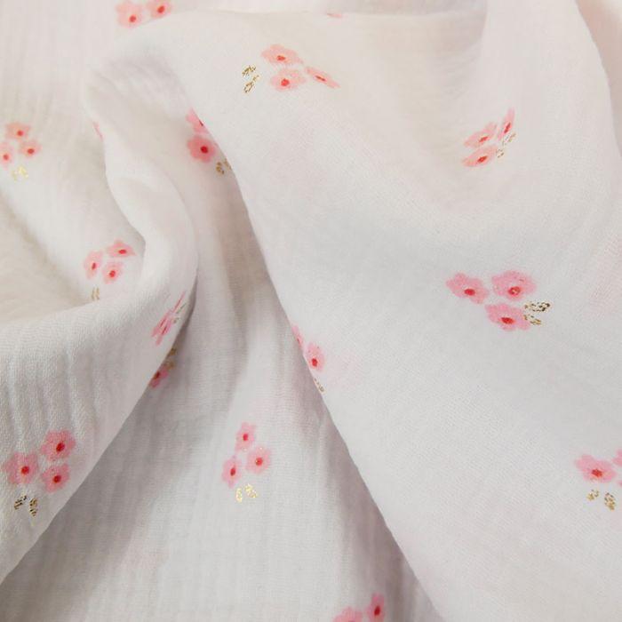 Tissu double gaze fleurs sakura glitter - blanc x 10cm