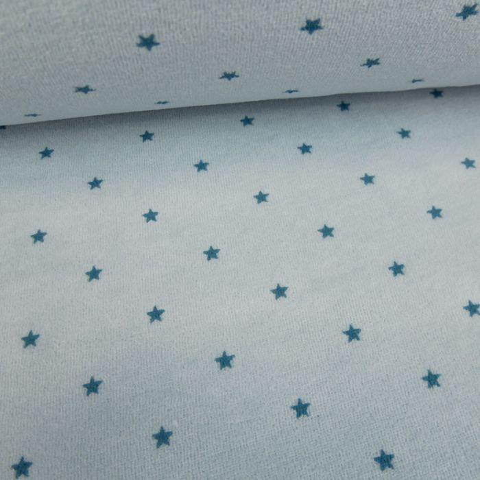 Tissu jersey velours étoiles - bleu clair x 10 cm