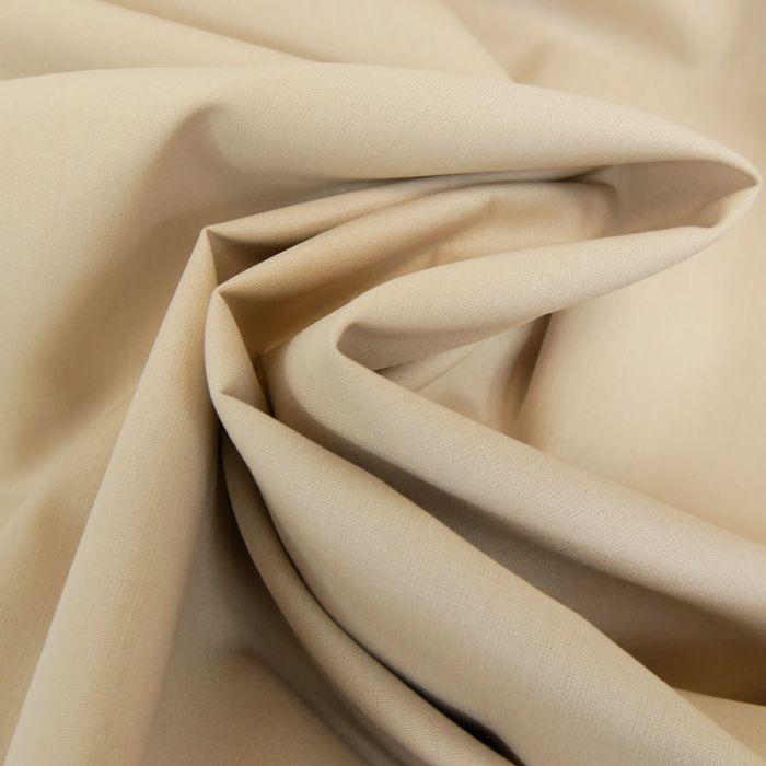Tissu coton popeline bio - beige x 10 cm