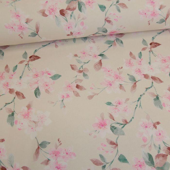Tissu jersey fleurs de cerisier vintage - blanc cassé x 10 cm