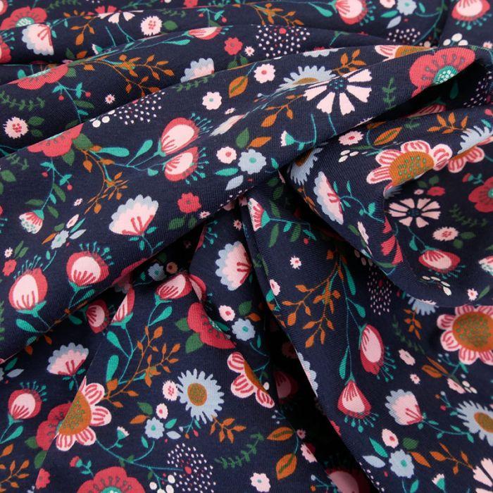 Tissu jersey bouquet de fleurs - bleu marine x 10 cm