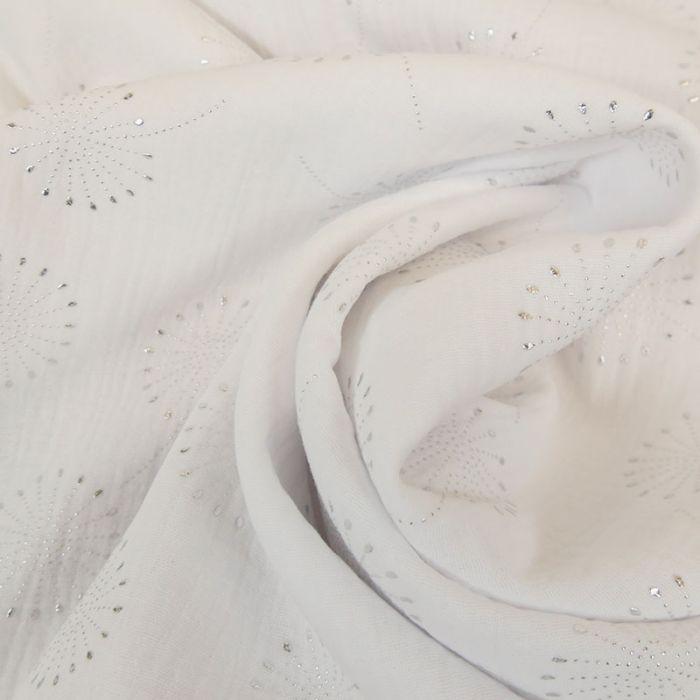 Tissu double gaze fleurs de pissenlit glitter - blanc x 10 cm