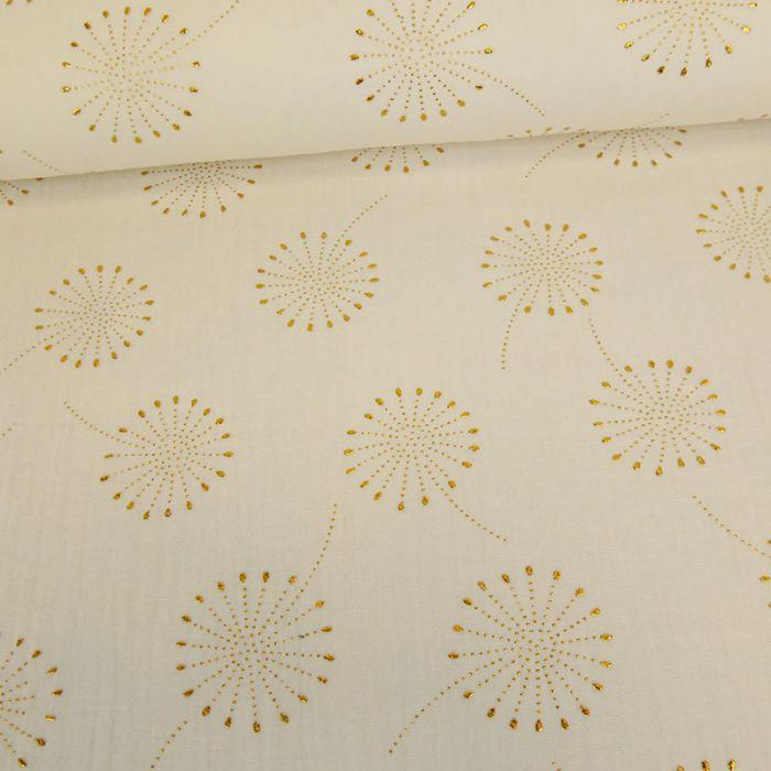 Tissu double gaze fleurs de pissenlit glitter - écru x 10 cm