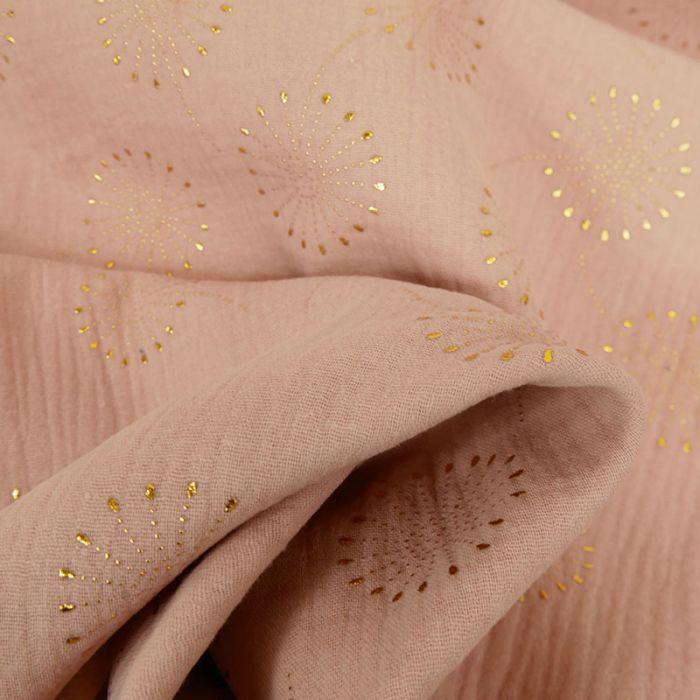 Tissu double gaze fleurs de pissenlit glitter - vieux rose x 10 cm
