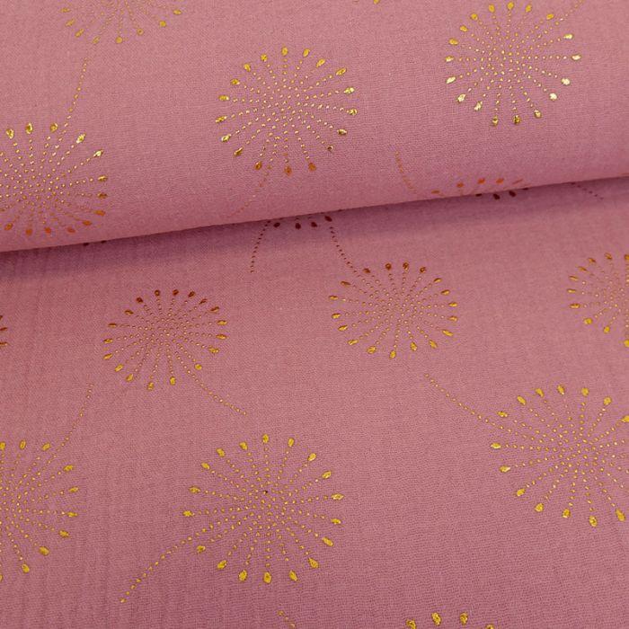 Tissu double gaze fleurs de pissenlit glitter - framboise x 10 cm