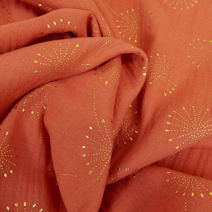 Tissu double gaze fleurs de pissenlit glitter - rouille x 10 cm