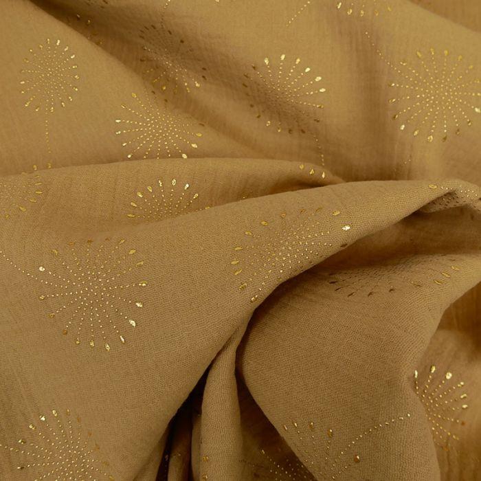 Tissu double gaze fleurs de pissenlit glitter - camel x 10 cm