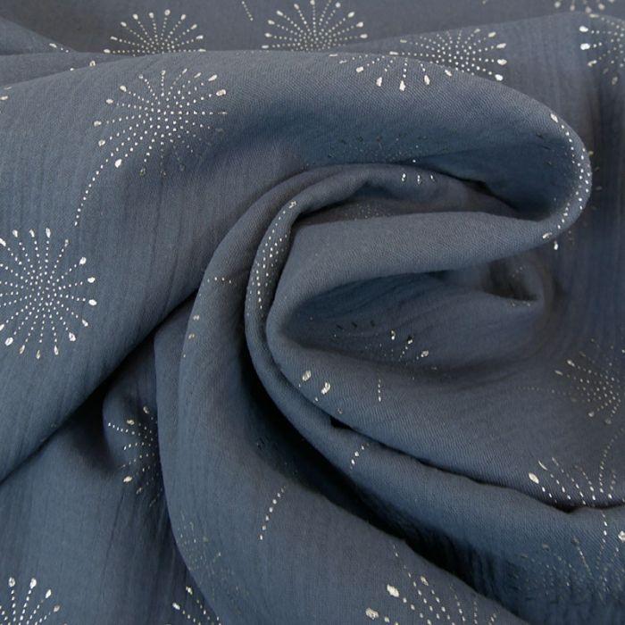 Tissu double gaze fleurs de pissenlit glitter - bleu minéral x 10 cm
