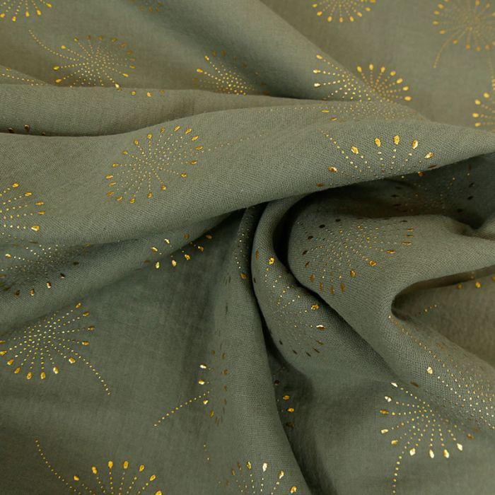 Tissu double gaze fleurs de pissenlit glitter - kaki x 10 cm