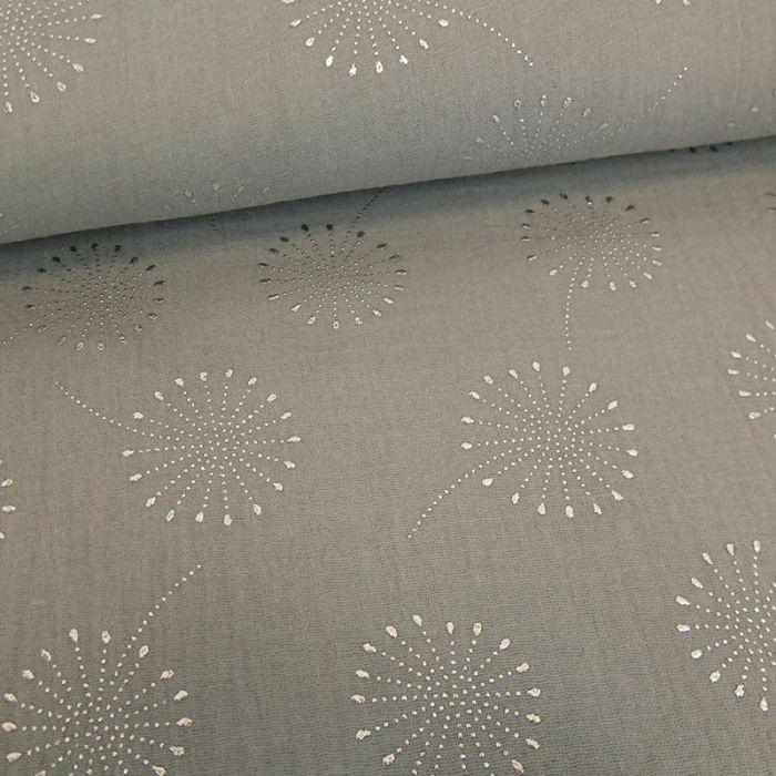 Tissu double gaze fleurs de pissenlit glitter - gris x 10 cm