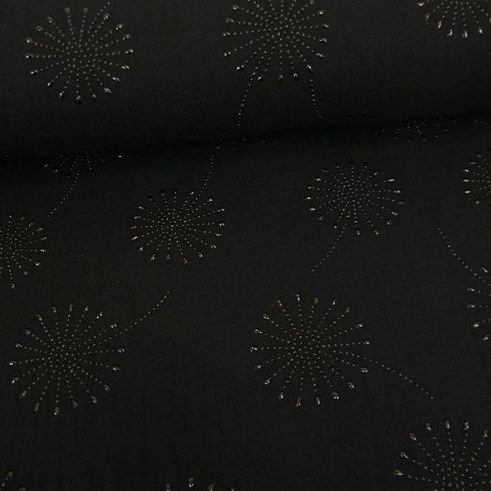 Tissu double gaze fleurs de pissenlit glitter - noir x 10 cm
