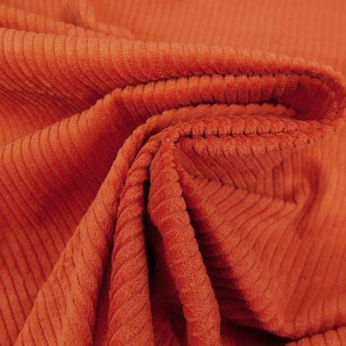 Tissu velours côtelé - brique x 10 cm