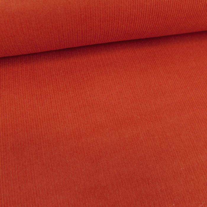 Tissu velours milleraies - brique x 10 cm