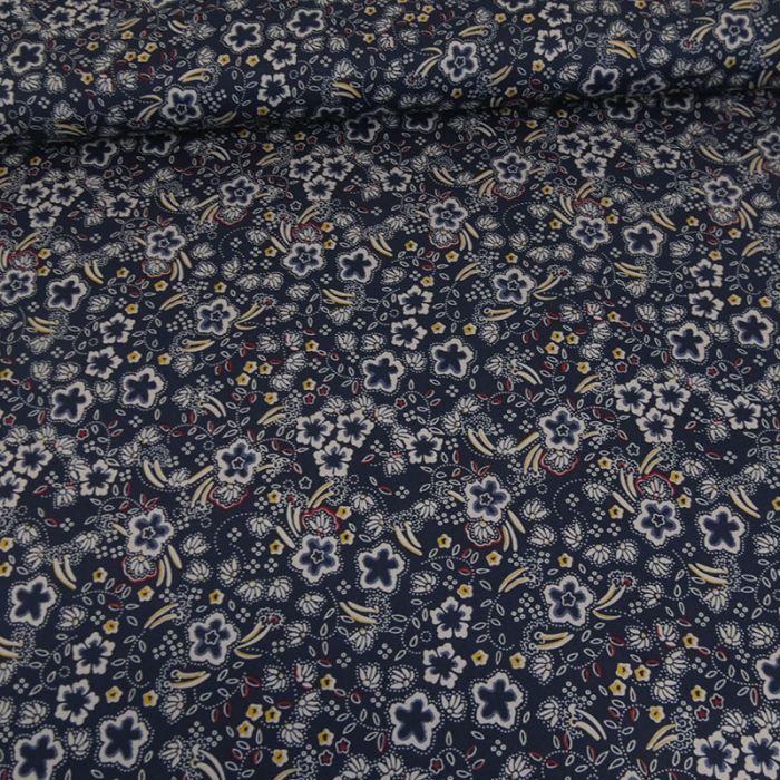 Coupon coton stretch fleurs et pointillés bleu marine - 50 X 145 cm