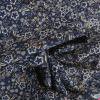 Tissu coton stretch fleurs et pointillés - bleu marine x 10 cm