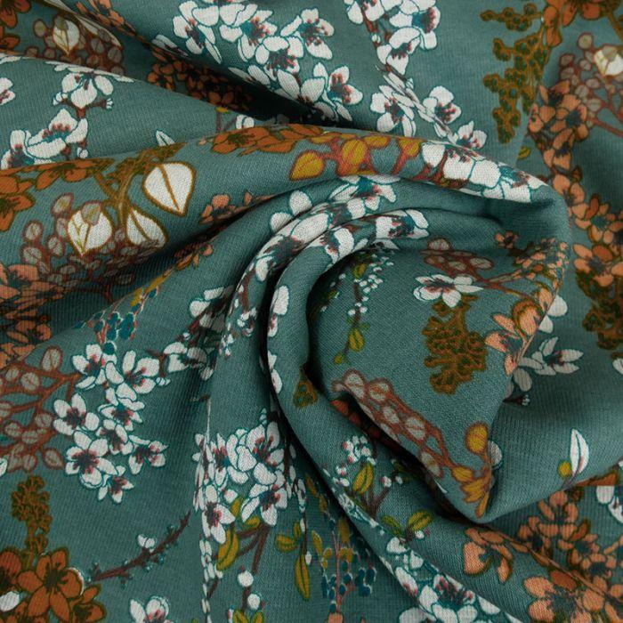 Tissu jersey sweat Azalée - vert x 10 cm