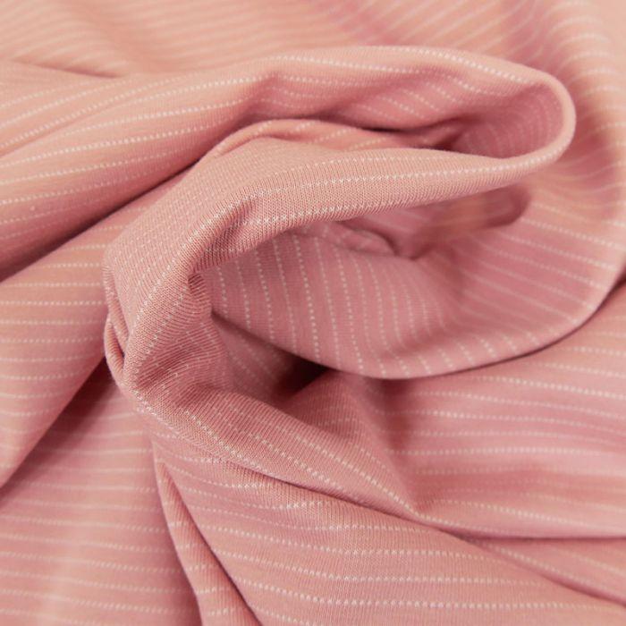 Tissu jersey fin à rayures - rose thé x 10 cm