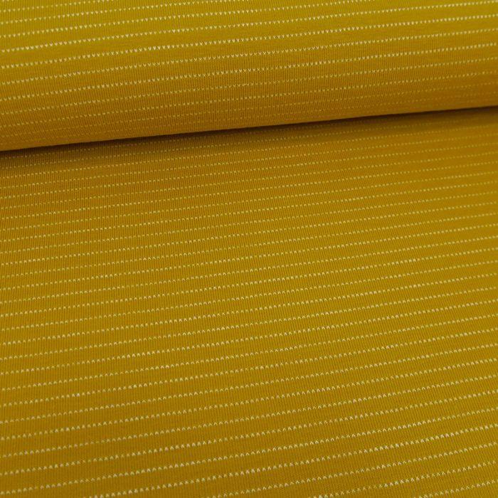 Tissu jersey fin à rayures - jaune x 10 cm